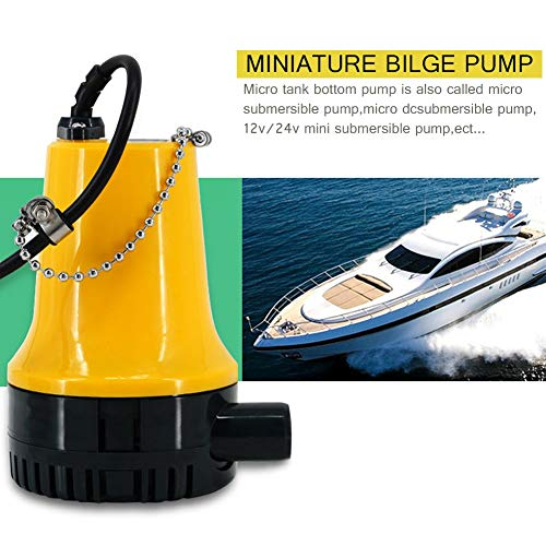 CWeep Bilge Pump, 12V/24V Micro DC Immersible Submersible Agricultural Irrigation Portable Electric Water Removal Pump (12 Volt Portable Power Supply)