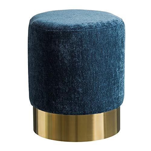 Puff tapizado de Terciopelo Azul Moderno para salón Iris - LOLAhome