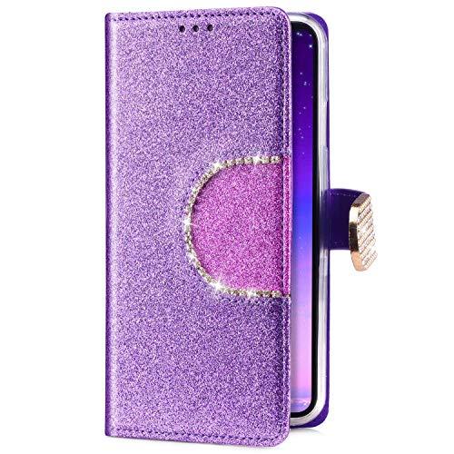 Uposao Kompatibel mit Samsung Galaxy J5 2016 Handyhülle Handy Tasche Luxus Glitzer Diamant Bling Glänzend Schutzhülle Flip Case Brieftasche Klapphülle Bookstyle Leder Hülle Standfunktion,Lila
