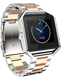 Malloom Venda de reloj de acero inoxidable pulsera correa para reloj Smart Watch de Fitbit Blaze (oro de rose 1)