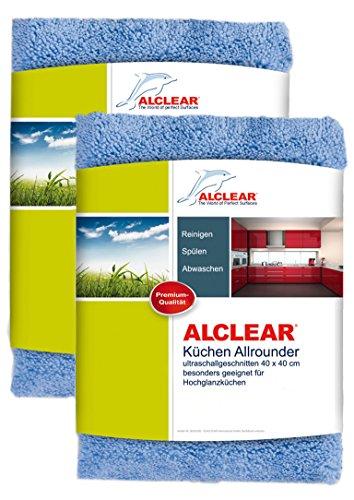 ALCLEAR 820203K_2 Küchen Allrounder, reinigt Hochglanzküchen schonend und gründlich, 40x40 cm, blau, 2er Set