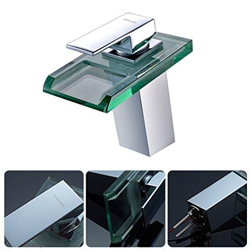 Auralum® Armatur LED RGB Glass Wasserhahn Waschtischarmatur für Bad/Badezimmer/Küchen - 6