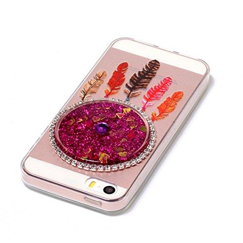 Custodia per Apple iphone 6,Custodia per Apple iphone 6S,Haikingmoon trasparente Sparkle Brillantini gel silicone protettiva Cover per Apple iPhone 6 / 6S (4,7 Pollice) - Viola Rose
