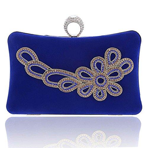 Damara® Cocktailparty Damen Festlich Kettentasche Handtasche Blau