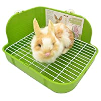 SunshineBio Rabbit Litter Box Toilet for Small Animal Bunny Rabbits Guinea Pig Galesaur Ferrets Corner Litter Pan Potty Trainer with Stainless Steel Panel Small Pets Cage Toilet Bedding Box (Green)