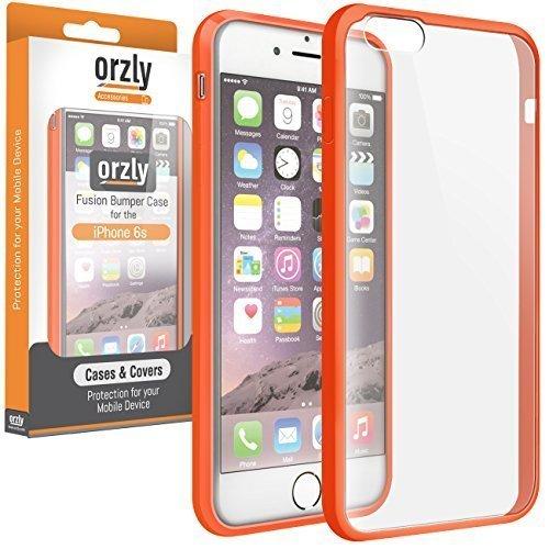 Orzly® FUSION Bumper Case für Apple iPhone 6 & 6S (4.7-Zoll Modell 2014 & 2015 Version) - Schutz Hard Cover mit stoßabsorbierenden Gummi SCHWARZ Rim und Voll Transparente Rückseite ORANGE Fusion für iPhone 6 & 6S