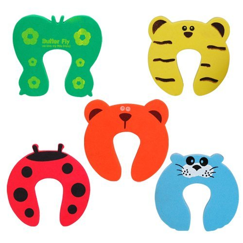 chinkyboo 5 x Animal Door Stop, Finger Pinch, Safety Guard, Helper, Finger saving- animal designs - red ladybird, green butterfly, blue seal, yellow tiger, and orange bear - Fits doors thick 20mm - 35mm