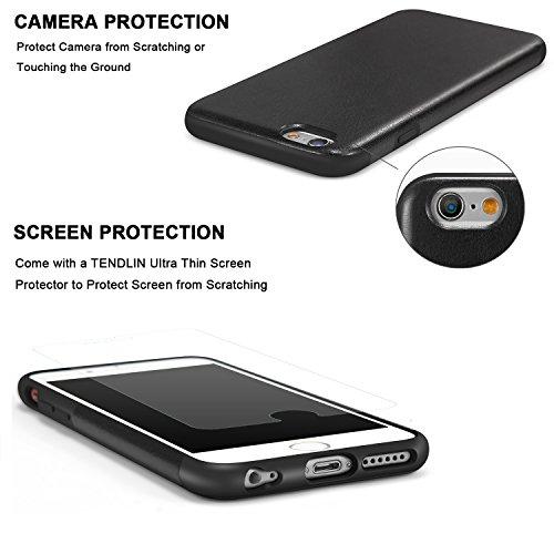 TENDLIN Coque iPhone 6s Plus Cuir et Flexible TPU Silicone Hybride Souple Housse Etui pour iPhone 6 Plus et iPhone 6s Plus (Marron) Cuir Noir