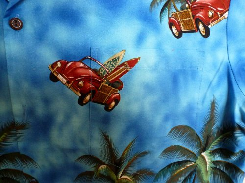 KY's | Original Hawaiihemd | Herren | S - 8XL | Kurzarm | Front-Tasche | Hawaii-Print | Autos Palmen Strand | Blau Blau