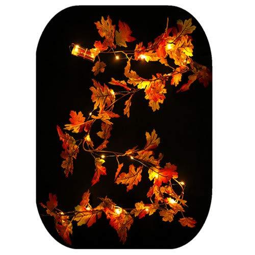 99native 1,5m Halloween LED Ahornblatt dekorative Rattan, Herbst Kürbis Maple Kranz Thanksgiving Dekoration für Party Halloween Karneval (Gelb1)