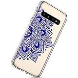 Herbests Kompatibel mit Samsung Galaxy S10 Hülle, Handyhülle Transparent Kratzfeste Schutzhülle Weiche Flexible Silikon Handyhülle Silikon TPU Rückschale Case Cover,Blau Mandala Blumen