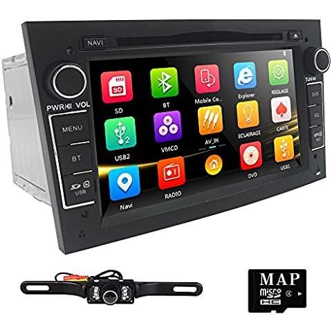 HIZPO 7 inch Car Audio Stereo Double Din In Dash for Opel Vauxhall Corsa Vectra Astra Support GPS Navigation DVD Player Bluetooth Car Radio USB SD Cam-In + Rear