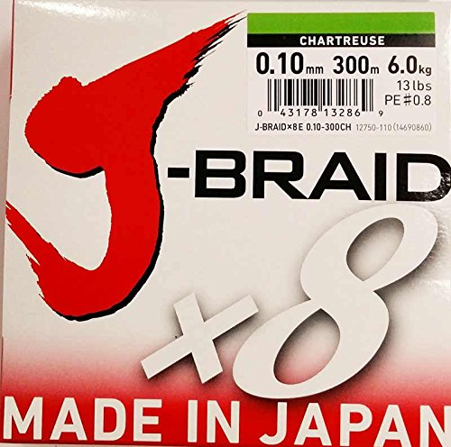 Daiwa J-Braid 8 Braid 0.10mm, 6,0kg/13,0lbs, 300m chartreuse