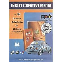 Carta per stampante A4 autoadesivo di carta adesivo X 20 fogli - Lucida Poliestere A Getto D'inchiostro
