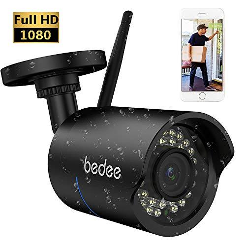 bedee WLAN IP Kamera 1080P HD Überwachungskamera Sicherheitskamera IP66 Unterstützt Handy/PC Fernbedienung IR Nachtsicht Bewegungserkennung Email 128G Aufnahme 3M Stecker Wasserdicht für Innen/Außen