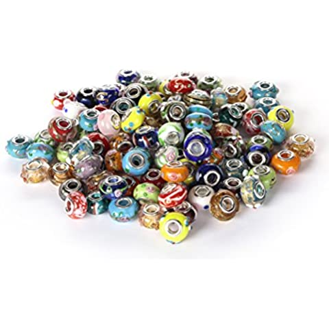BRCbeads Top Quality 100Pcs Mix Silver Plate STYLE4 Murano Lampwork European Glass Crystal Charms Beads Spacers Fit Pandora Troll Chamilia Carlo Biagi Zable Snake Chain Charm Bracelets.
