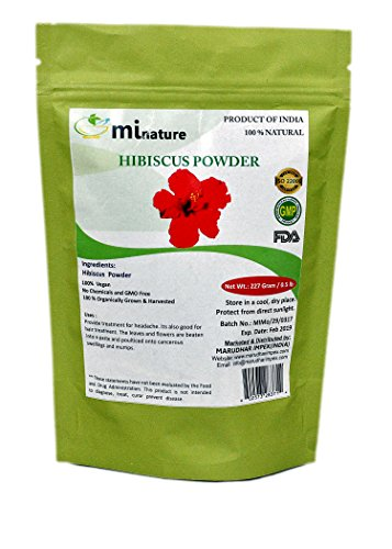 mi nature Hibiscus Powder(ROSA SINENSIS) / 100 % Pure, Natural and Organic For Hair,Skin and Women\'s Health / (227g / (1/2 lb) / 8 ounces) - Resealable Zip Lock Pouch