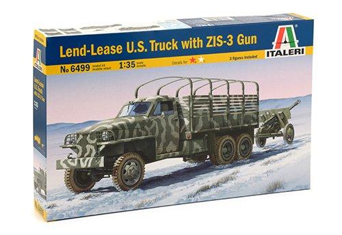 Italeri 6499 - lend lease u.s.truck with zis-3 gun model kit scala 1:35