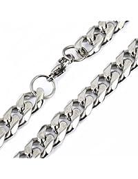 Trendsmax 10 mm de ancho pesado enorme muchachos de los hombres del tono de plata cadena del encintado del collar cubano Enlace acero inoxidable 316L