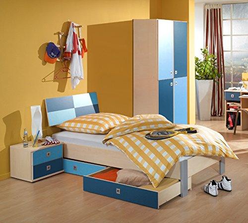 Jugendzimmer 5tlg-Set Ahorn Nb. - blau Jugendbett Kleiderschrank Nachtisch - Ahorn Set Kleiderschrank