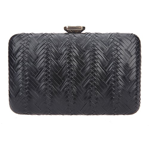 Bonjanvye Big Man Made Diamond PU Leather Weave Evening Bags And Clutches For Women Gold black