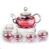 kingdao 27Oz Glas Filterung Tee Set Teekanne mit Stövchen und 6doppelte Wände 40ml Tee Tassen 800ml
