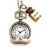 OFKPO Vintage Damen Taschenuhr,Taschenuhr Halskette mit Flasche,Gut Geschenk für Mädchen