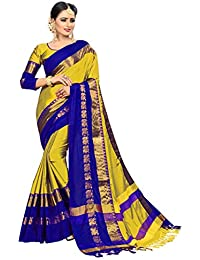 Sakarba Sarees Women's Cotton Silk Saree With Blouse Piece.