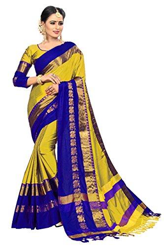 Vivan Trendz Cotton Silk Saree With Blouse Piece (Yellow & Royal_Free Size)