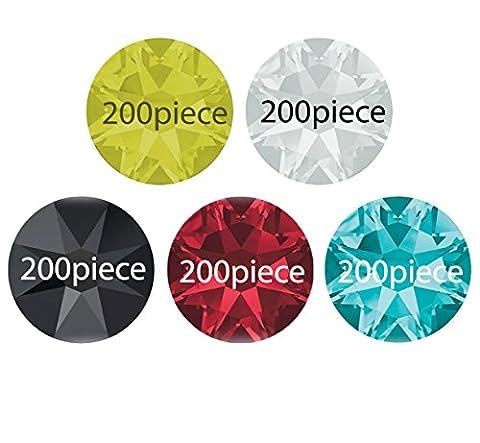 1000Crystal strass 3mm en 5Couleur (Aqua Marine de India Siam de jet black-jaune (Jonquil) Crystal Mix) à coller. No hoffix