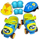 ZCRFY Inline-Skates Einstellbare Rollschuhe Kinder Zweireihig Vierrädrige Rollerblades Für Anfänger Kleinkinder Baby 2-6 Jahre Jungen Mädchen Schlittschuh Geburtstagsgeschenk,Green-(20-30) Code-Set1