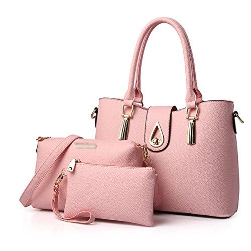 Donna Nuovo Stile Moda Pratica Grande Capacità Temperamento Tre Lenzuolo Borsa A Tracolla Singola Pink02
