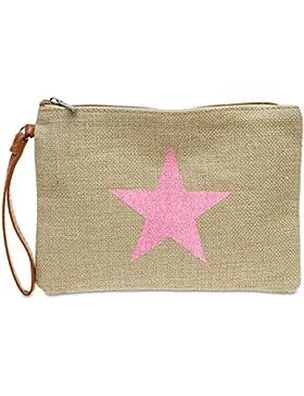 [Gesponsert]CASPAR TS354 Damen Sommer Jute Clutch Tasche mit Stern Print