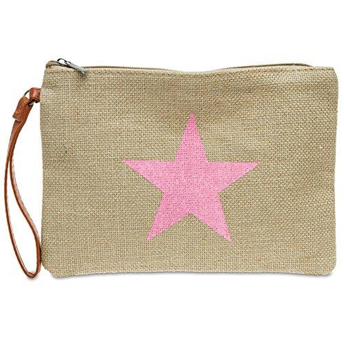 CASPAR TS354 Bolso de Mano/Clutch de Yute para Mujer con Estrella, Talla:Talla Única, Color:rosa