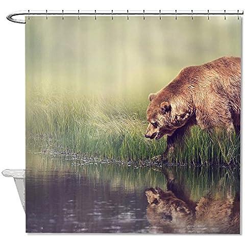 whiangfsoo Orso bruno a pesca pesce impermeabile resistente alla muffa tenda da doccia per bagno, #2, 48