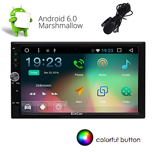 Eincar 7 pouces Car Stereo Android 6.0 Marshmallow écran tactile double Din Dash Headunit vidéo Navigation 1080P Autoradio Quad-Core CPU GPS Bluetooth RDS support Wifi SD / USB / 3G / OBD2 / 4G d'A