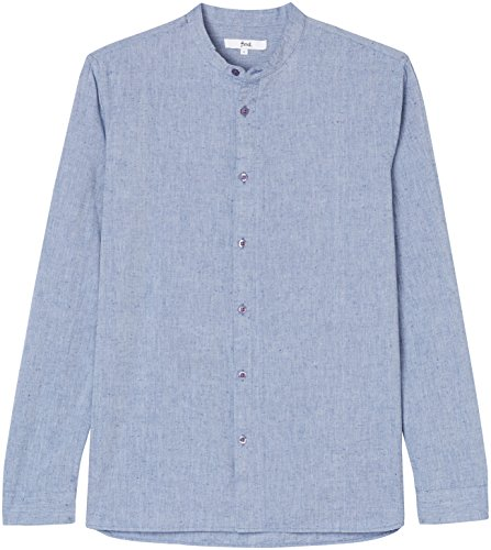 Find camicia con collo alla coreana uomo, blu (blue), medium