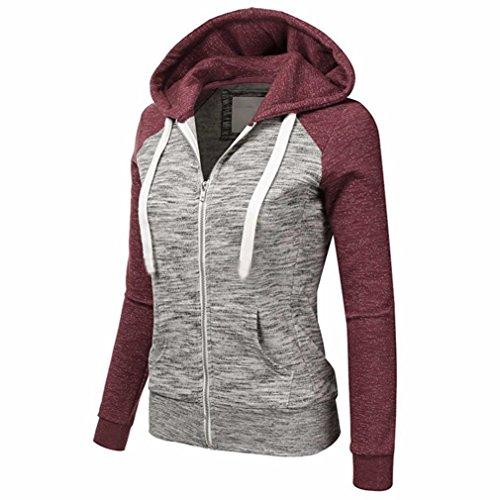 Winwintom Femmes Automne Décontracté À Manches Longues Thin Zip Contrast Hood Hoodies Veste Manteau Rouge