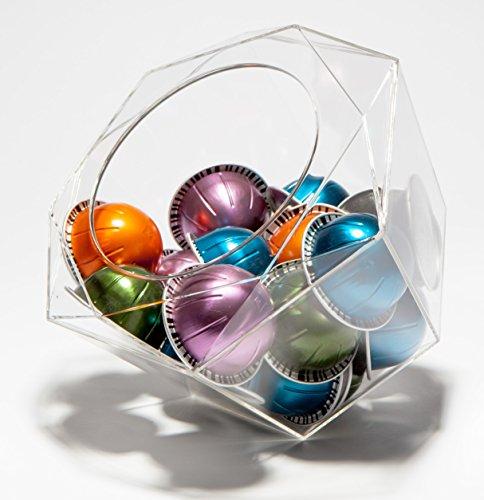 Verre Collection Hexagon Plexiglas Kapselhalter für Nespresso Vertuoline, K-Cups, Dolce Gusto, Clear Dispenser, Storage Solution (Keurig Kaffee-espresso Pods)