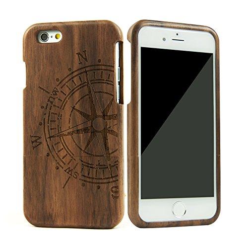 eimo Mano autentico legno naturale legno Caso case shell skin per iPhone 6 4.7''(noce bussola )