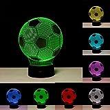 3D Illusion Fußball Lichter Lampe, Fußball LED Tisch Schreibtisch Dekor 7 Farben Touch Control USB Powered Party Dekoration Lampe, 3D visuelle Lampe für Wohnkultur Weihnachten Geburtstagsgeschenke