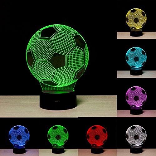 3D Illusion Fußball Lichter Lampe, Fußball LED Tisch Schreibtisch Dekor 7 Farben Touch Control USB Powered Party Dekoration Lampe, 3D visuelle Lampe für Wohnkultur Weihnachten Geburtstagsgeschenke - Fußball-led-licht