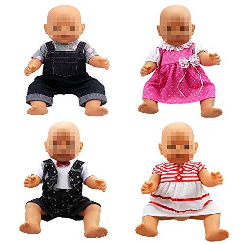 Lance Home 4 Conjuntos Vestidos de Ropa de Verano de Moda para Muñecas de 14 a 18 Pulgadas Baby Born, Muñecas Recién Nacidas, Muñecas American Girl y Otras Muñecas de 14-18 Pulgadas