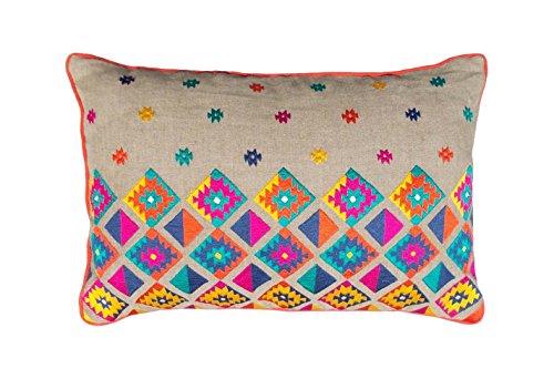 VLiving Colorful Bohemian-Stil Leinen Kissenbezug bestickt Marokkanischer Kissenbezug, Kissen Schutzhülle Tribal Indian peruanischen Azteken Kissen Ethnic, Leinen, Linen colour, 14x21