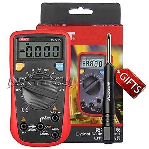 Nktech Uni-T Ut136a multimètre numérique AC DC Tension courant fréquence résistance automatique des données Tenue Duty Cycle testeur Mètre kit sondes deux composants + Tl-1Tournevis