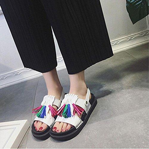 BZLine® Frauen Quaste Sandalen Casual Schuhe Leder Flat Peep Toe Student shoes Sandalen Weiß