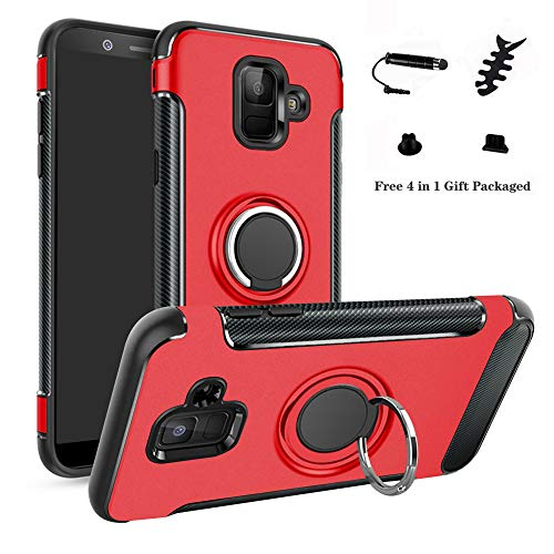 LFDZ Galaxy A6 2018 Custodia, Resistente TPU Case Design 360 Grado Rotazione Protective Custodia Cover per Samsung Galaxy A6 2018 / SM-A600N / A600(Not Fit Galaxy A6 Plus 2018),Rosso