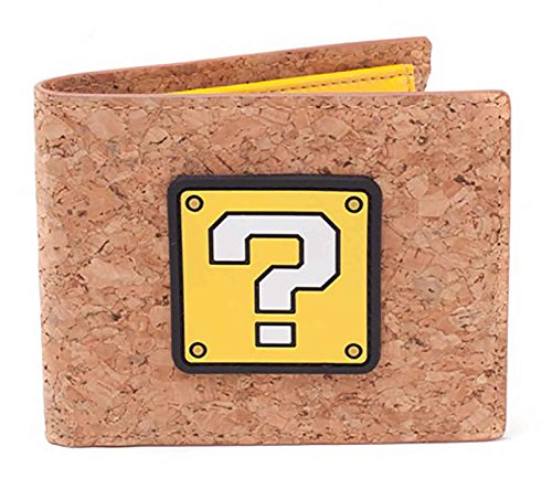 Nintendo Super Mario Brieftasche Mario Question Mark Cork Nue offiziell Bifold