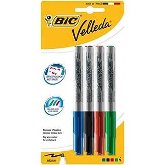BIC Velleda 1741 Marcadores de Pizarra punta media (4,5 mm) – colores Surtidos, Blíster de 4+1
