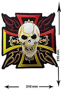 Croix avec crâne 21cm Big Jumbo Patch Biker Rocker pour femme Logo T-shirt pour femme à coudre Patch Fer Sur brodé Badge Panneau PS4Motif personnalisé
